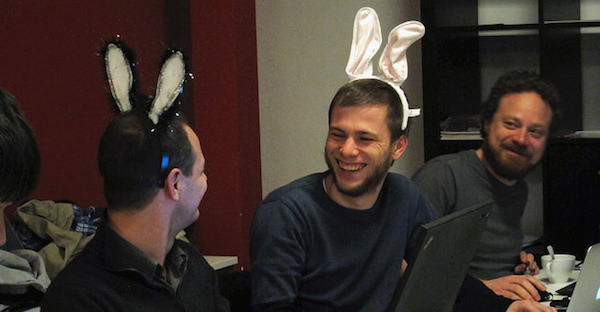 yched, Wim Leers, and pfrenssen at a sprint, wearing bunny ears